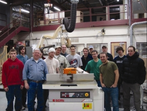 Madison Area Technical College students with their new SCMI CNC Shaper.