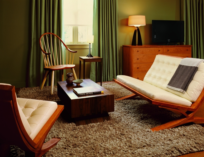 Freeport, Maine's Harraseeket Inn created a Thomas Moser suite featuring Moser pieces as well as artwork and accessories from New England artists. Everything in the suite is available for purchase.